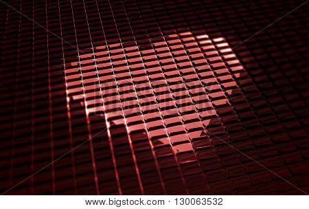 Pixel Glow Red Heart Abstract 3D Render Illustration. Digital Love.