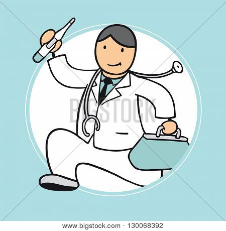 Fast cartoon doctor running to medical emergency