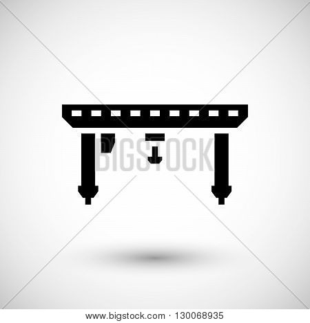 Gantry crane icon isolated on grey. Vector illustration