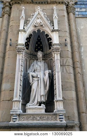 FLORENCE, ITALY - JUNE 05: Saint Philip by Nanni di Banco, Orsanmichele Church in Florence, Tuscany, Italy, on June 05, 2015