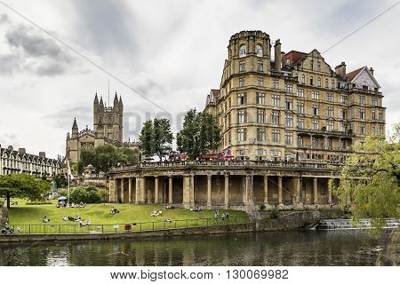 BATH - JULY 18: View of the Empire Hotel on River Avon on July 18 2015 in Bath England