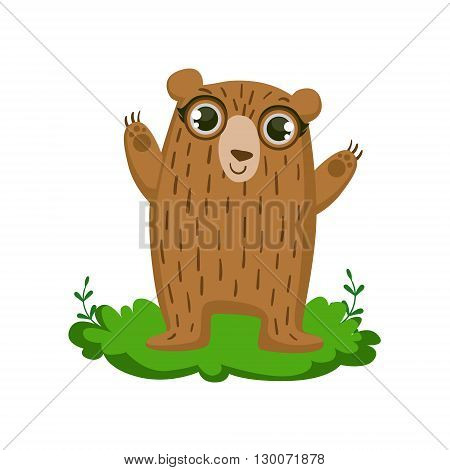 Ber Friendly Forest Animal Flat Vector Icon In Cute Girly Style Isolated On White Background