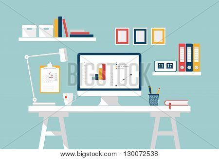 Home office interior. Stylish workspace on home or studio. Vector Flat design of modern home office interior with designer desktop. Creative office workspace, workplace of student with computer poster