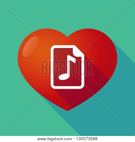 Long Shadow Red Heart With  A Music Score Icon