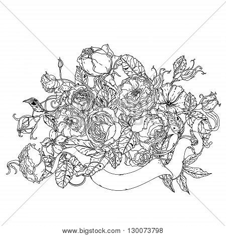 Uncolored colouring book style, roses in zenart style, could be used for Adult colouring book. Hand-drawn, doodle, vector the best for your design, wedding cards, coloring book. Black and white.