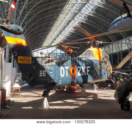 BRUSSELS-OCT. 10: A Sikorsky S-58 military helicopter is seen in The Royal Museum of Armed Forces and Military History in Cinquantenaire Park in Brussels Belgium on Oct. 10 2015.