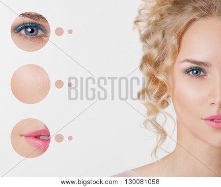 Portrait of youth women. Trendy summer make-up with blue eyelines. Concept problem skin