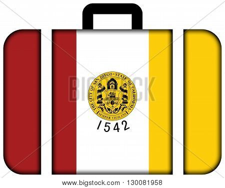 Flag Of San Diego, California. Suitcase Icon, Travel And Transportation Concept