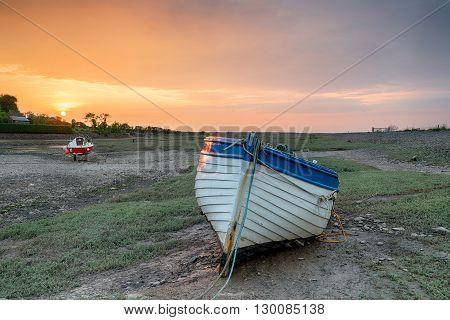 Sunset Over Fishing Boat At Porlock Weir