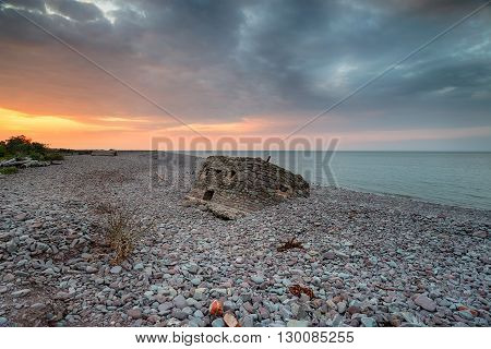 Dramatic Sunset Over The Beach At Porlock Weir