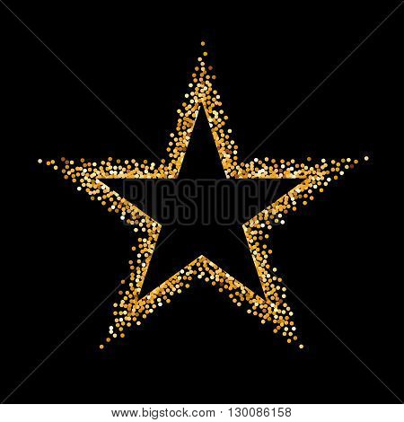 Golden Glitter Frame in the Form of Star on Black Background