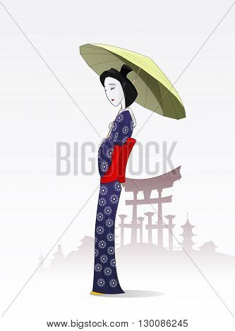 Japanese woman in traditional kimono. In the hands of  geisha holding  umbrella. The feet of a woman traditional Japanese woman. Layered Vector illustration