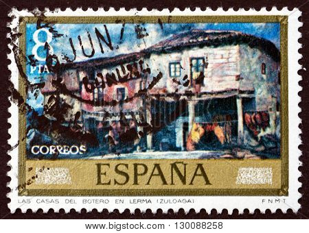 SPAIN - CIRCA 1971: a stamp printed in the Spain shows Cobblers' Houses at Lerma Painting by Ignacio Zuloaga circa 1971