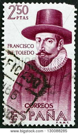 SPAIN - CIRCA 1964: a stamp printed in the Spain shows Francisco de Toledo was the fifth Viceroy of Peru Builder of the New World circa 1964