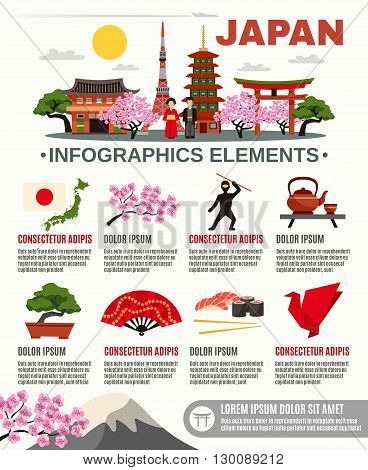 Information on traditional Japan culture food and historical landmarks flat poster with infographic elements abstract vector illustration