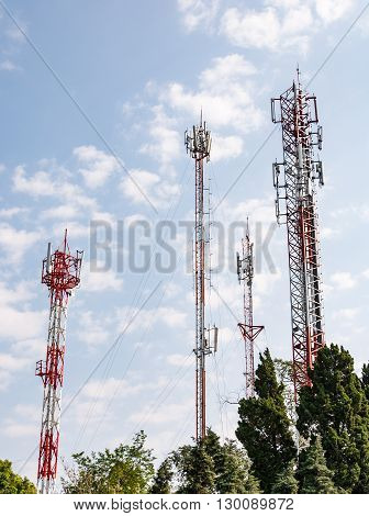Telecommunication tower group on the top of high mountain in Thailand.