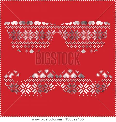 Hipster pattern in Scandinavian Nordic winter stitching  knitting  christmas style with mustache, geek sunglasses, love heart  christmas presents, snow, stars, decorative ornaments on red background