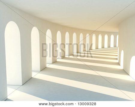 Corridor in warm colors