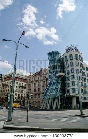 Prague, Czech Republic - May 8, 2012: Modern building also known as the Dancing House designed by Vlado Milunic and Frank O. Gehry stands on the Rasinovo Nabrezi.