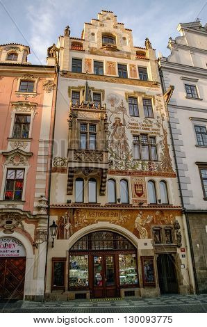 Praha, Czech Republic - May 10, 2012: Houses on Old Town Square in Prague