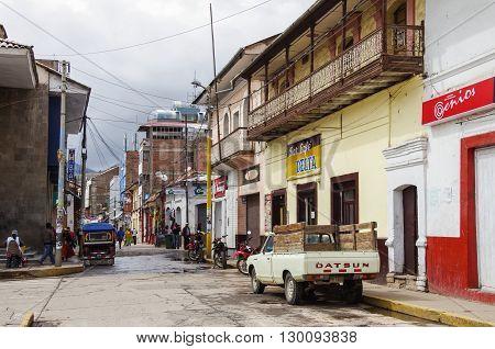 Puno, Peru -january 4,2014:  Streets Of Puno Town, Near Titicaca Lake, Peru.