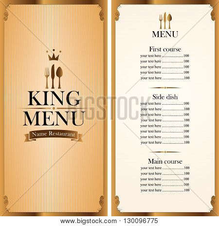 royal king menu for a cafe or restaurant and Price all in gold