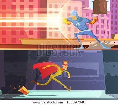 Superhero horizontal cartoon banners set with power and protection symbols isolated vector illustration