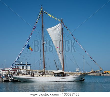 SOCHI, RUSSIA - 16 MAY, 2014. The Romanian schooner Adornate. Large sailing ships in the port of Sochi.