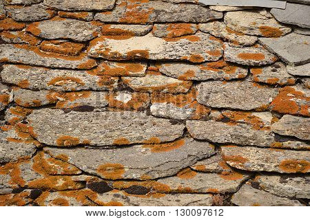 Old stone roof covered with red moss. Photo