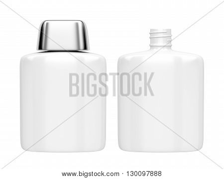 Open and closed containers for aftershave lotion or perfume isolated on white, 3D illustration