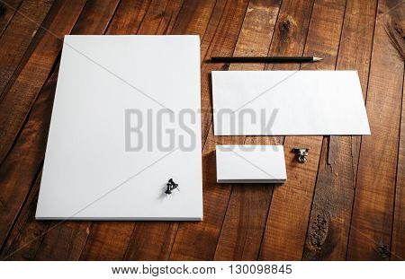 Blank stationery template. Blank letterhead business cards envelope and pencil. Mock-up for design presentations and portfolios.