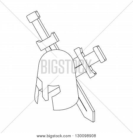 Helmet with two swords icon, isometric 3d style isolated on white background. Black illustration