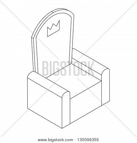 Throne with crown icon, isometric 3d style isolated on white background