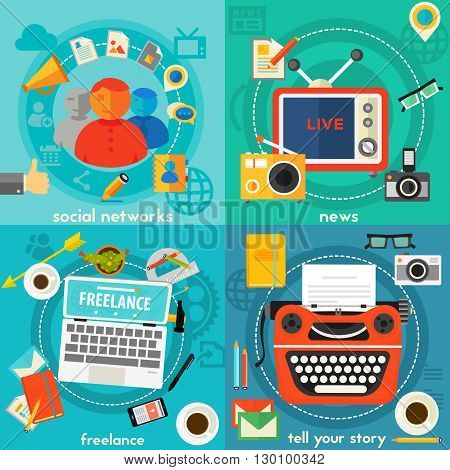 Telling A Story, News, Freelance and Social Networking concept banners. Flat style vector illustration online web banners
