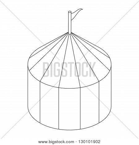 Circus tent icon, isometric 3d style. Black illustration on white for web