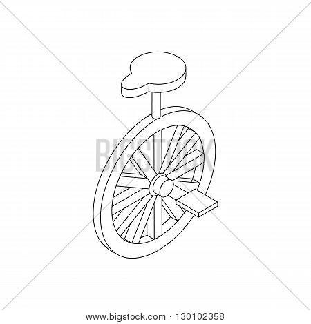 Unicycle icon, isometric 3d style. Black illustration on white for web