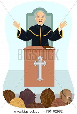 Senior protestant priest gives his sermon from the church pulpit poster