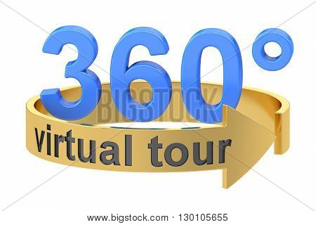 Virtual Tour 360 degrees concept. 3D rendering isolated on white background