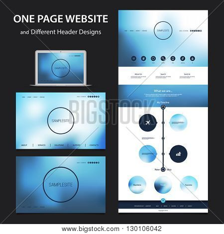 One Page Website Design Template for Your Business with Different Blurred Header Designs