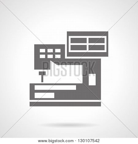 Industrial sewing machines for embroidery. Manufacture fashion clothing and decoration dress. Computerization of production. Symbolic black glyph style vector icon.