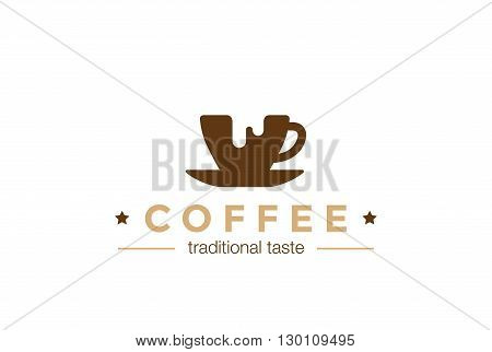 Coffee cup Logo design vector template Negative space icon.