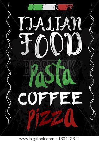 Italian Food Vector restaurant illustration. Hand drawn banner. For menu, banner, flyer, card