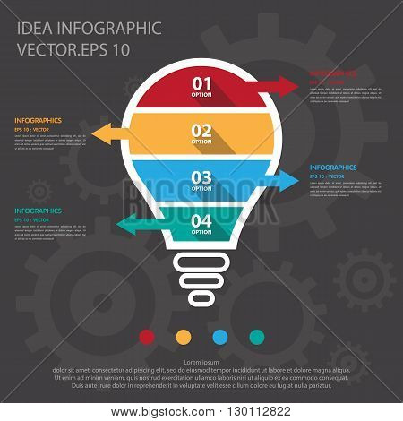 Step Design Of Four Part Light Bulb Infographic Element. Vector/ Illustration.
