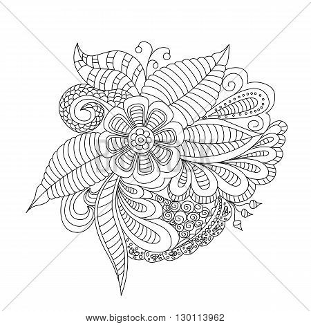 Hand Drawn Floral Background. Design For Cover,  Bag, Knapsack, Notebook, Datebook . Coloring Book P