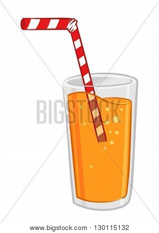 Vector stock of a glass of fresh orange juice with straw