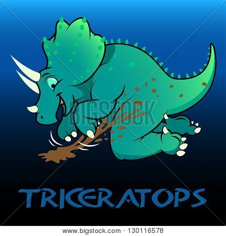 A green Triceratops cute character dinosaurs .