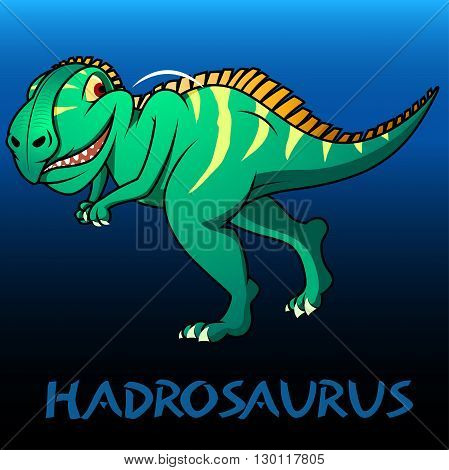 A green Hadrosaurus cute character dinosaurs .