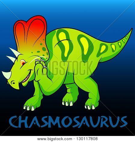 A green Chasmosaurus cute character dinosaurs .