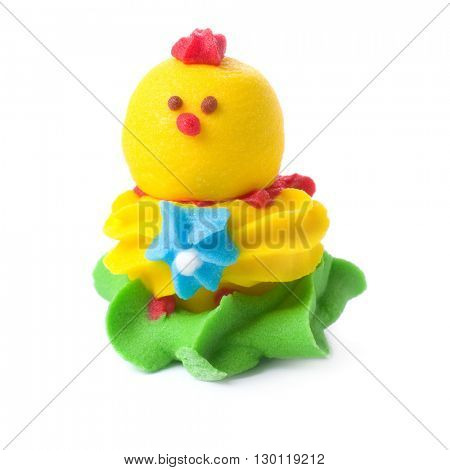 Candy as chicken isolated on white.
