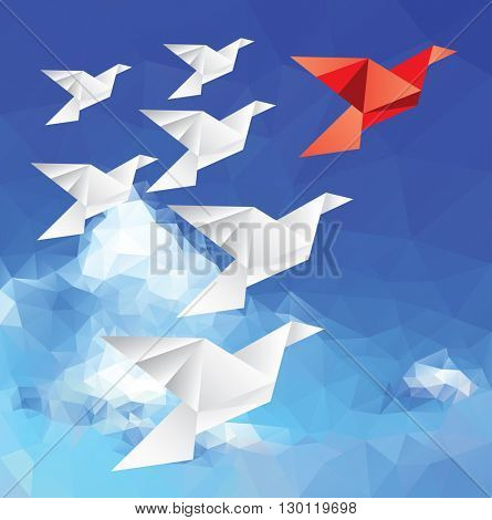 vector illustration with origami paper birds in clouds, red leader bird, low poly